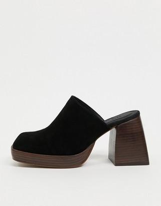 ASOS DESIGN Paloma premium suede heeled mules in black