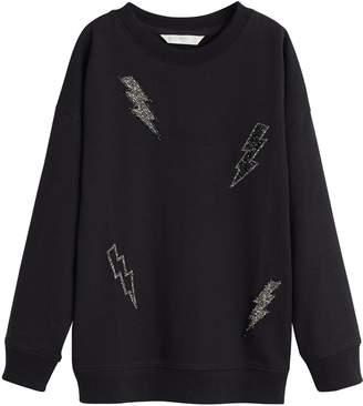 MANGO Girls Lightening Bolt Sweatshirt - Black