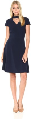Tahari by Arthur S. Levine Women's Short Sleeved A-line Dress with Neck Detail