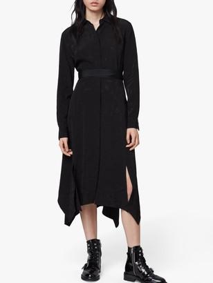 AllSaints Tilly Valentine Midi Dress, Black