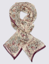 M&S Collection Pure Silk Floral Print Scarves