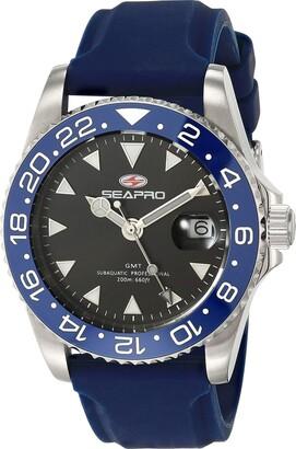 Seapro Men's Agent Stainless Steel Quartz Rubber Strap Blue 20 Casual Watch (Model: SP0122BL)
