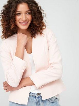 Wallis Edge To Edge Smart Blazer Jacket - Blush