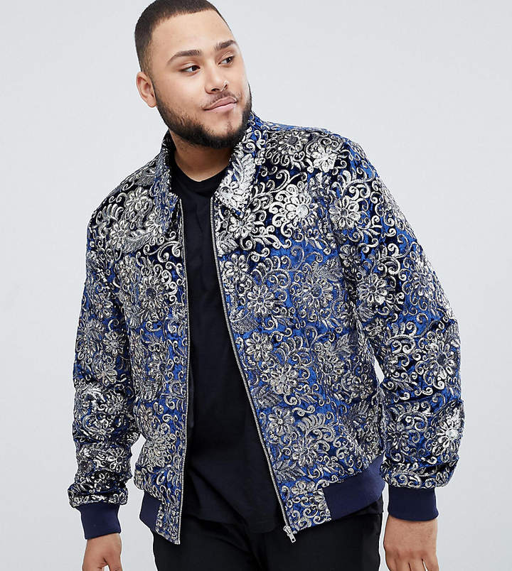 345a0dcb6 Edition EDITION Plus bomber jacket with sequin jacquard in navy