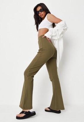 Missguided Khaki Co Ord Rib Straight Leg Joggers
