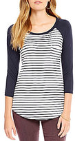 Moa Moa Striped Pocket 3/4 Sleeve Raglan Tee