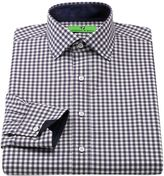 Bristol & bull classic-fit checked contrast-cuff spread-collar dress shirt