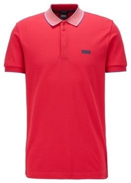 HUGO BOSS Pima Cotton Polo Shirt With Striped Collar And Cuffs - Pink