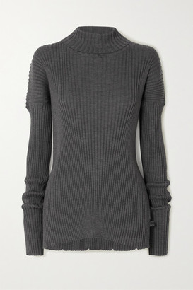 Bottega Veneta Ribbed Wool Turtleneck Sweater - Gray