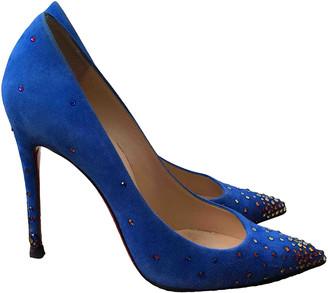 Christian Louboutin Degrastrass Blue Suede Heels