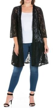 24seven Comfort Apparel Women's Plus Size Lace Cardigan