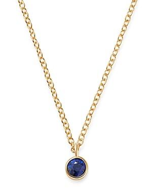 Zoë Chicco 14K Yellow Gold Blue Sapphire Drop Choker Adjustable Necklace, 14-16