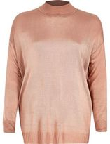 River Island Womens Dusty pink sheer knit turtleneck top