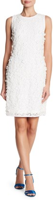 Nina Leonard 3D Flower Lace Sheath Dress