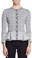 Alexander McQueen Check Tweed Peplum Cardigan, Black/White