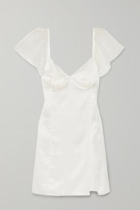 Maisoncléo MaisonCleo - Christine Georgette-trimmed Silk-satin Mini Dress - White