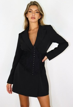 Missguided Black Lace Overlay Corset Blazer Dress