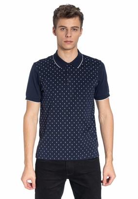 Merc Ball Men's Cotton Geometric Print Polo Shirt in Blue Large (UK: L)