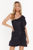 Nasty Gal Womens Going Solo One Shoulder Ruffle Dress - Black - 6, Black