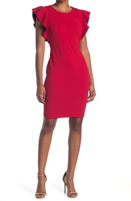 Calvin Klein Ruffle Cap Sleeve Sheath Dress
