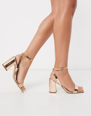 ASOS DESIGN Havana barely there block heeled sandals in rose gold