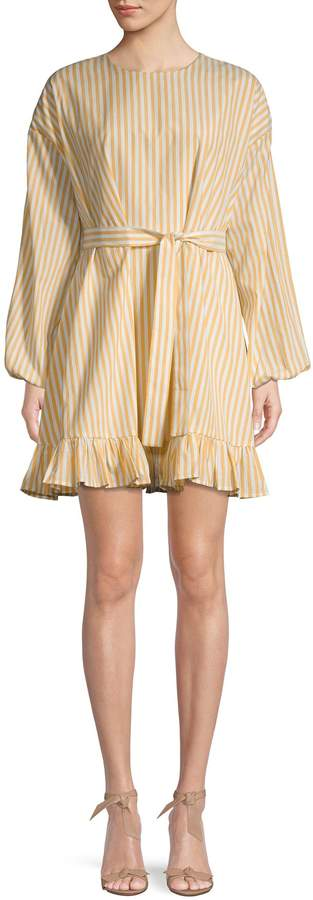 ENGLISH FACTORY Striped Tie-Waist Fit-&-Flare Dress