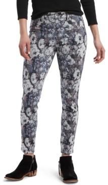 Hue Floral-Print Denim-Look Leggings