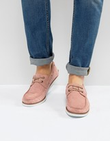 Asos Boat Shoes In Pink Suede With White Sole