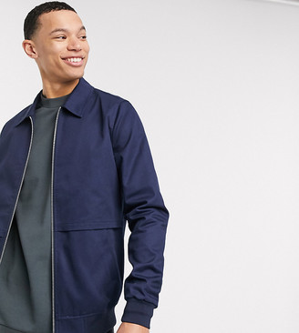 ASOS DESIGN Tall harrington jacket with storm vent in navy