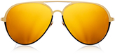 Linda Farrow Luxe Yellow Gold-Plated Gold Mirrored Aviator Sunglasses