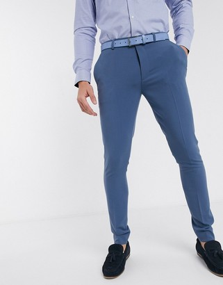 ASOS DESIGN smart super skinny trousers in light blue