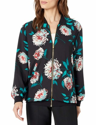 Chaus Women's Long Sleeve Kyoto Blossoms Bomber Jacket