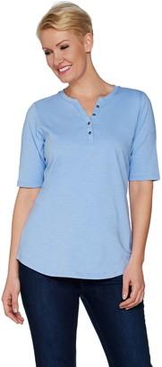 Denim & Co. Essentials Elbow Sleeve Textured Knit Henley Top