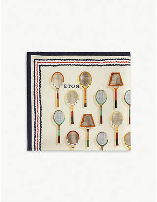 Eton Tennis racket print silk-blend pocket square