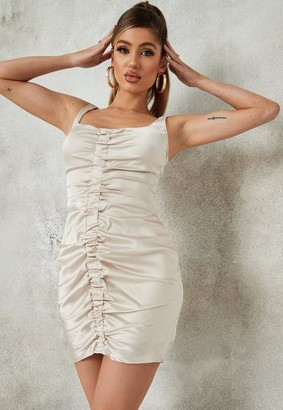 Missguided Cream Satin Ruched Front Strappy Mini Dress