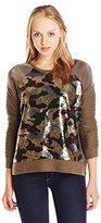 Miss Me Junior's Sequin Floral Long Sleeve Top