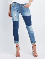 Charlotte Russe Machine Jeans Two-Tone Boyfriend Jeans