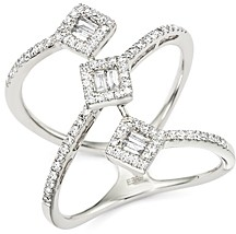 Bloomingdale's Diamond Round and Baguette Statement Ring in 14K White Gold, .50 ct. t.w. - 100% Exclusive