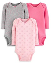 Carter's Child Of Mine By Child of Mine by Baby Girl Long Sleeve Bodysuits, 3-Pack