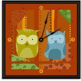 Green Leaf Art Owls I Decorative Art Clock