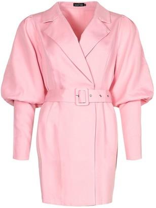 boohoo Woven Puff Sleeve Blazer Dress
