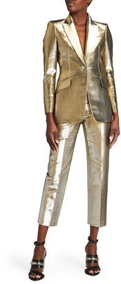 Alexander McQueen Metallic Straight-Leg Cropped Pants