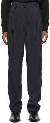 Lemaire Black Silk Belted Pleat Trousers