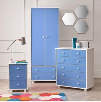 Miami Fresh Kids3 Piece Package - 2 Door, 2 Drawer Wardrobe, 5 Drawer Chest, 3 Drawer Bedside Chest - Blue