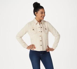 Martha Stewart Natural Denim Button Front Jean Jacket