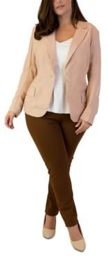 Maree Pour Toi Plus Size Notch-Collar Single-Button Jacket