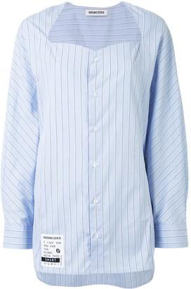 Ground Zero Striped Collarless Shirt