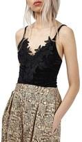 Topshop Women's Floral Lace Velvet Bodysuit
