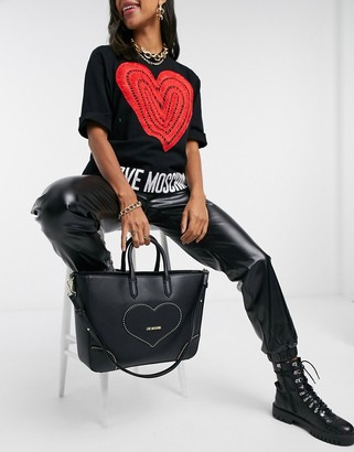 Love Moschino embroidery of love large tote bag in black