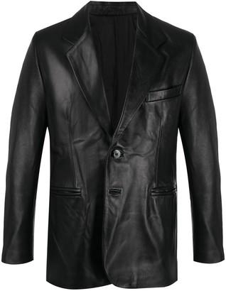 Ernest W. Baker Straight-Fit Leather Blazer